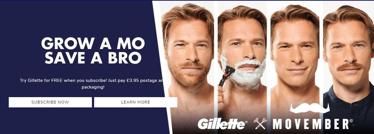 Gillette and Movember charity partnerships example